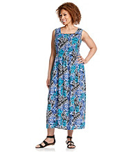 Notations® Plus Size Smock Front Maxi Dress