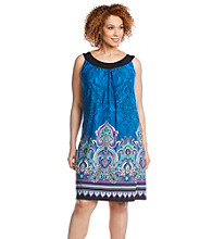 Notations® Plus Size Cleo-Neck Printed Dress