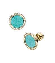 Michael Kors® Goldtone Semi-Precious Turquoise Slice Stud Earrings with Clear Pave
