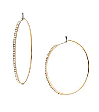 Michael Kors® Goldtone Clear Pave/Medium Whisper Hoop Earrings