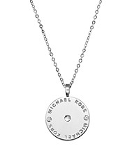Michael Kors® Goldtone Logo Plate Disc Pendant with Clear Cubic Zirconia