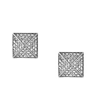 Vince Camuto™ Silvertone Pave Pyramid Stud Earrings