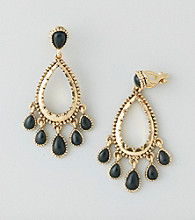 Lauren Ralph Lauren Goldtone/Black Gypsy Clip Hoop Earrings