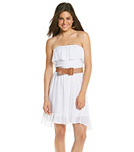 A. Byer Juniors' Whie Strapless Gauze High-Low Dress