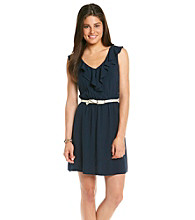 A. Byer Juniors' Navy Ruffle Sundress