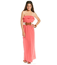 Trixxi® Juniors' Strapless Gauze Maxi Dress