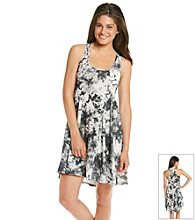 Eyeshadow® Junior's Gray High-Low Tie-Dye Knit Dress