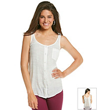 Eyeshadow® Juniors' Button Front Lace Back Tank