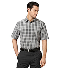 Van Heusen® Men's Grey Griffin Short Sleeve Pucker Woven