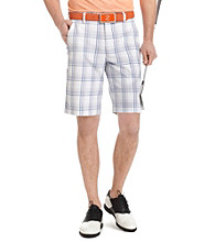 Izod® Men's Bright White Fancy Flat Front Plaid Golf Short