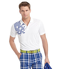 Izod® Men's Bright White Shoulder Grid Polo