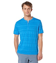 Perry Ellis® Men's French Blue Short Sleeve 4 Button Henley