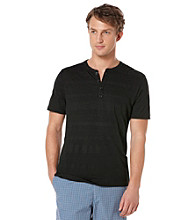 Perry Ellis® Men's Black Short Sleeve 4 Button Henley
