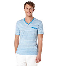 Perry Ellis® Men's French Blue Short Sleeve V-Neck