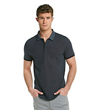 Calvin Klein Men's Officer Navy Engineered Short Sleeve Stripe Polo