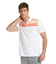 Calvin Klein Men's French Red Short Sleeve Knit Stripe Polo