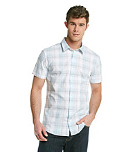Calvin Klein Men's Blue Patch Short Sleeve Plaid Woven Button Down