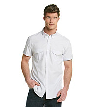 Calvin Klein Men's White Short Sleeve Plaid Woven Button Down with Roll-up Sleeves