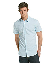 Calvin Klein Men's Blue Patch Short Sleeve Stripe Poplin Button Down Woven