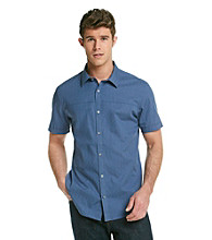 Calvin Klein Men's Coastal Fjord Short Sleeve Stripe Button Down Woven