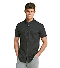 Calvin Klein Men's Black Short Sleeve Button Down Woven
