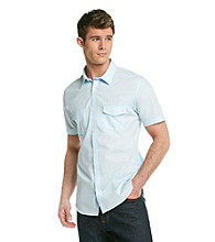 Calvin Klein Men's Short Sleeve Woven Slub Poplin Button Down