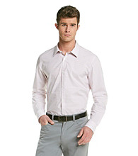 Calvin Klein Men's Papaya Punch Long Sleeve Checked Woven Button Down with Roll-up Sleeves