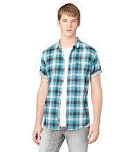 Calvin Klein Jeans® Men's Bright Teal Short Sleeve Roll Tab Button Down Shirt