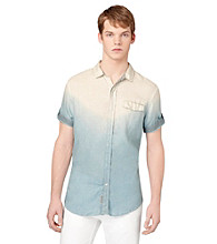 Calvin Klein Jeans® Men's Silver Short Sleeve Dip Dye Button Down Shirt