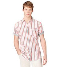 Calvin Klein Jeans® Men's Short Sleeve Snapper Red Multi-Striped Button Down Shirt