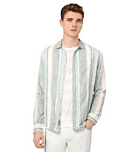 Calvin Klein Jeans® Men's Blue Radiance Long Sleeve Striped Button Down Shirt