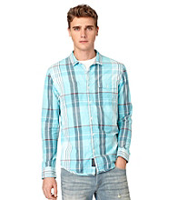 Calvin Klein Jeans® Men's Blue Radiance Long Sleeve Large Seersucker Striped Button Down Shirt