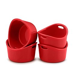 Rachael Ray® 4-pc. Red Bubble & Brown Round Ramekin Set