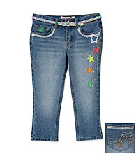 Squeeze® Girls' 7-16 Denim Sequin Star Belted Capris