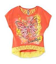 Beautees Girls' 7-16 Coral Lace Trim Butterfly Screen Tee
