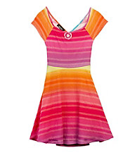 Amy Byer Girls' 7-16 Pink Multi Stripe Fit 'N Flare Dress