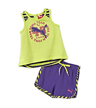 PUMA® Baby Girls's' Green/Purple Hi-Low Tank and Shorts Set