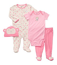 Carter's® Baby Girls' Pink 4-pc. Monkey Layette Set