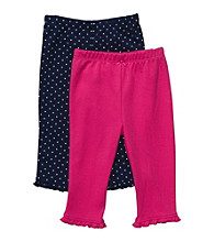 Carter's® Baby Girls' Navy Dot/Bright Pink 2-pk. Pants