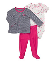 Carter's® Baby Girls' Bright Pink 3-pc. Footed Pants Set