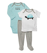 Carter's® Baby Boys' Blue/Heather Grey 3-pc. Turtle Footed Pants Set