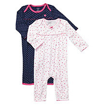 Carter's® Baby Girls' White/Navy 2-pk. Ditsy Dots Coverall Set