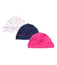 Carter's® Baby Girls' Navy Blue/Pink 3-pk. Caps