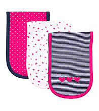 Carter's® Baby Girls' Pink/Navy 3-pk. Burp Cloths