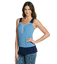 DKNY® Knit Banded Tank Top - Baltic Blue