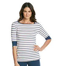 KN Karen Neuburger Knit Short Sleeve Stripe Top - Navy Stripe