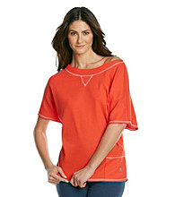 KN Karen Neuburger Knit Mesh Textured Top - Tangerine
