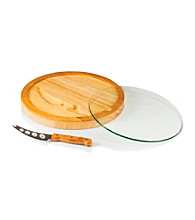 Picnic Time® Iris Wood, Glass, and Stainless Cutting Board with Knife