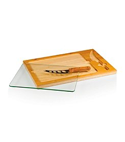 Picnic Time® Icon Wood, Glass and Stainless Cutting Board with Knife