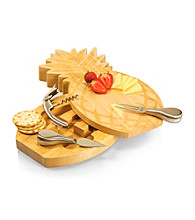 Picnic Time® Pineapple Shaped Wood Cutting Board with Stainless Tools